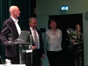 Avgående ordförande Gunnar Palme och ledamoten Elisabeth Annell Åhlund
